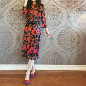 Made in Spain silk blend floral midi dress